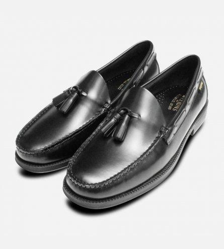 Mens Bass Weejun Rubber Sole Tassel Loafers in Black