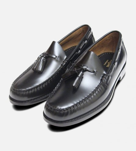 Black Polished Leather Formal Ivy League Tassel Loafers by Bass Weejuns