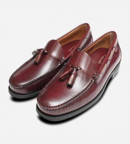 Mens Bass Weejun Tassel Loafer Shoes Larkin in Burgundy