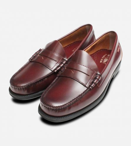 Larson II Rubber Sole Bass Weejuns in Burgundy Wine Leather