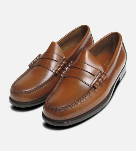 Classic Mens Honey Brown Larson Penny Loafers GH Bass Weejuns