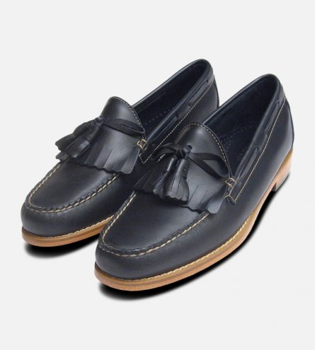 Navy Blue Waxy Leather Mens Fringe & Tassel Loafers by Bass Weejuns