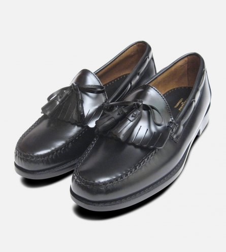 Mens Black Polished Formal Fringe & Tassel Loafers by Bass Weejuns