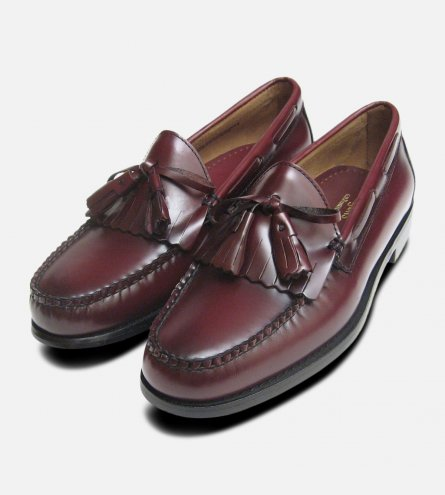 Burgundy Wine Polished Formal Fringe & Tassel Loafers by Bass Weejuns