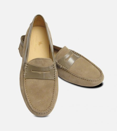 Ecru Sand Suede & Patent Arthur Knight Ladies Italian Driving Moccasins