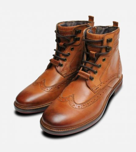 Bugatti Urban Trekking Zip Boot in Light Brown Leather