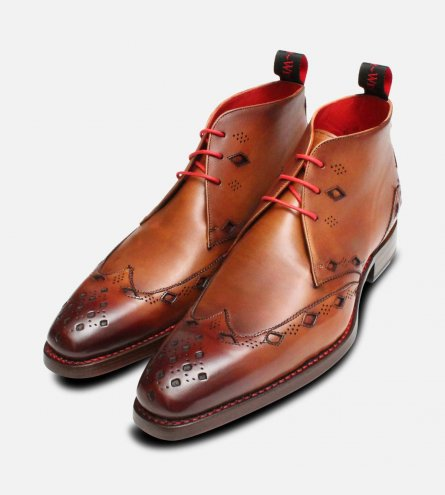 Premium Jeffery West Mahogany Diamond Chukka Boot