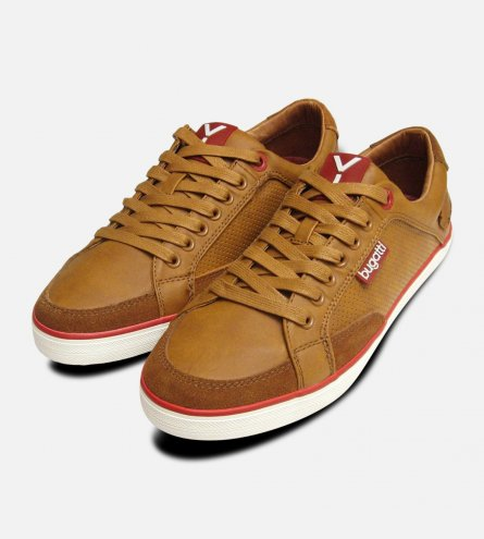 Tan Leather Mens Designer Lace Up Trainers by Bugatti Sneakers