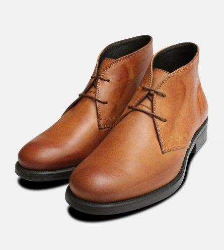 Waxy Tan Italian Chukka Boots with Rubber Sole