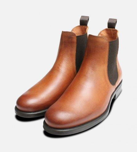 Antique Tan Ladies Round Toe Italian Chelsea Boots