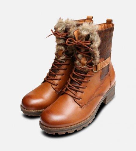 Tamaris Designer Tan Leather Fur Ankle Zip Boots