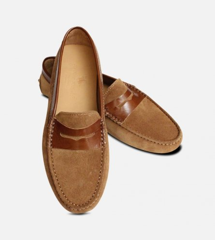 Honey Brown Suede Italian Arthur Knight Moccasins