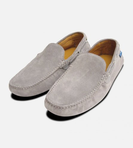 Light Grey Suede Mens Driving Shoes