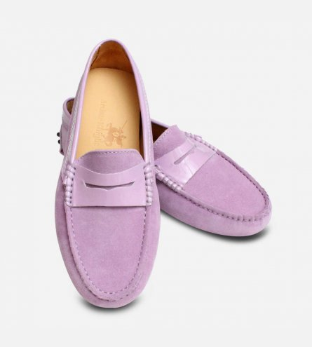 Lilac Suede Ladies Italian Driving Shoe Moccasins
