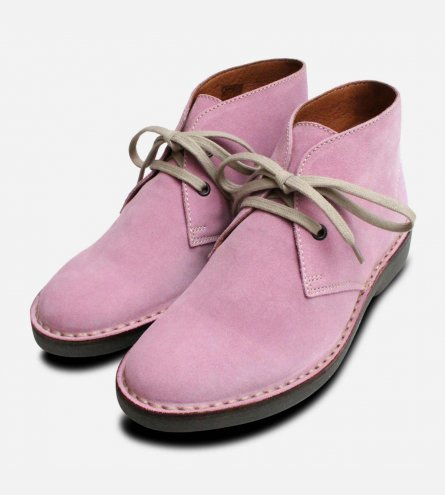 Lilac Suede Ladies Italian Lace Up Desert Boots