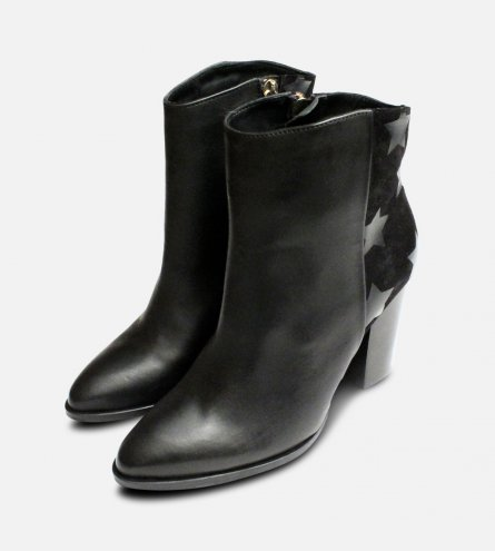 9a07c233b6c683 Black Tommy Hilfiger Lopez Stacked Heel Ankle Boots