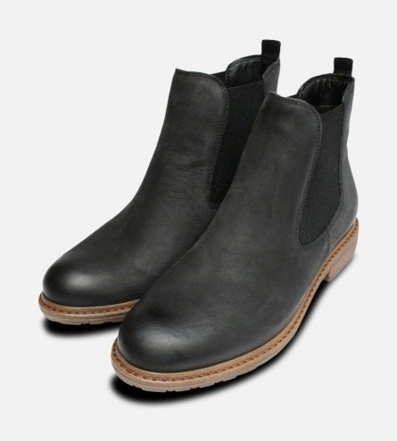 Matt Black Tamaris Ladies Slip On Ankle Boots