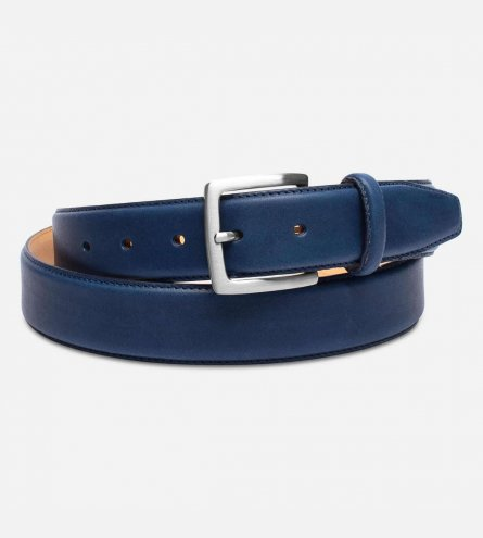 Matt Blue Leather English Belt with Silver Buckle