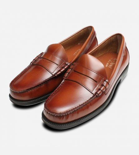 Larson II Brown Penny Loafer Shoes by GH Bass Rubber Sole