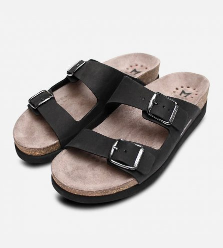 Mephisto Harmony Sandals in Black Nubuck Suede