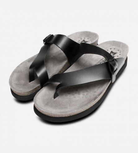 Mephisto Helen Sandals in Smooth Black Sandanyl Leather