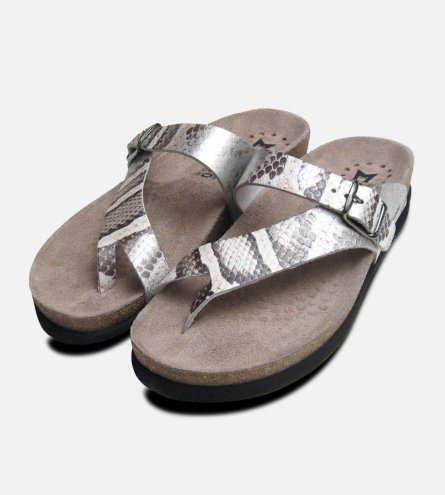 Womens Helen in Silver Snake Skin Patent Leather Mephisto Sandals