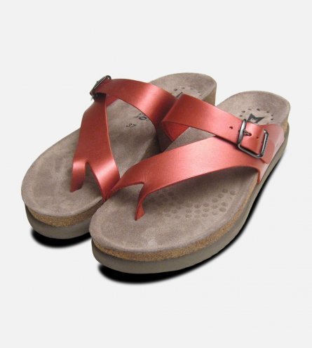 Ladies Helen in Pink Metallic Leather by Mephisto Sandals
