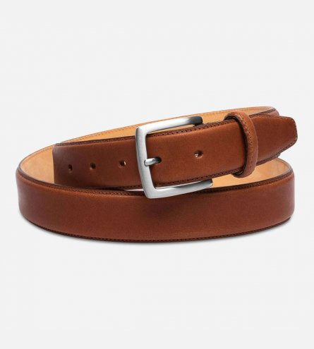 Matt Brown Leather Mens Belt with Silver Buckle