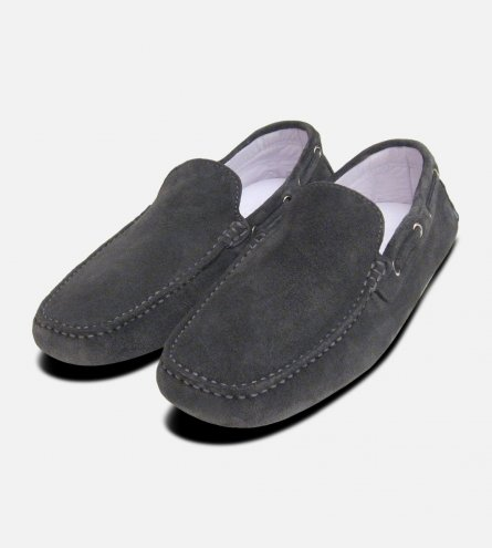 Mid Grey Suede Driving Shoe Loafers