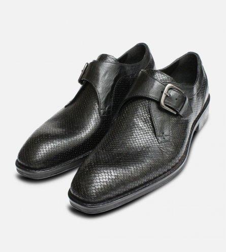 Black Snakeskin Effect Buckle Monk Shoes