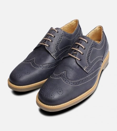 Navy Blue Mens Brogues Rubber Sole Anatomic Shoes