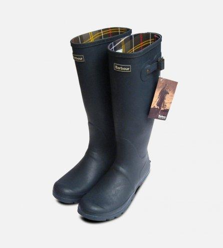 Barbour Mens Navy Blue Waterproof Rubber Wellington Boots