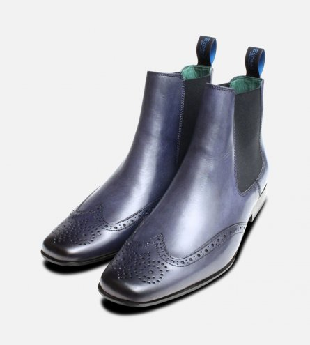 Navy Blue Chelsea Boot Brogues by Exceed Shoes