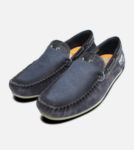 Smoked Bugatti Loafers in Navy Blue Canvas