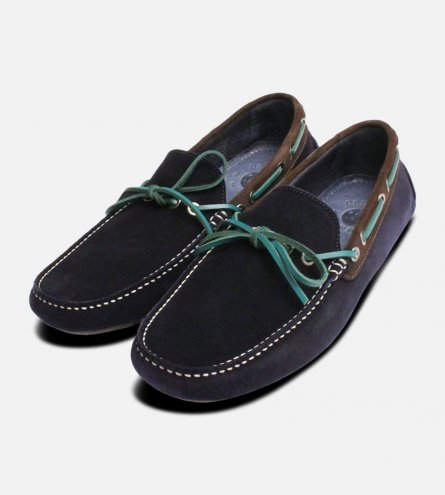 Navy Blue & Green Designer Driving Shoes