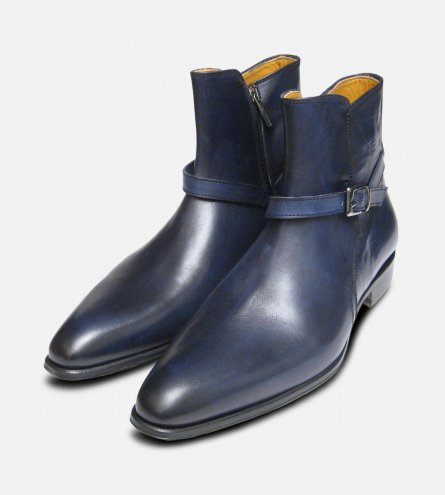 Navy Blue Mens Jodhpur Zip Boots