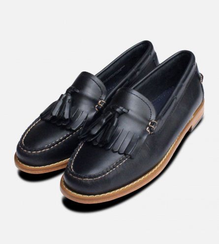 Waxy Navy Blue Ladies Bass Tassel Loafer