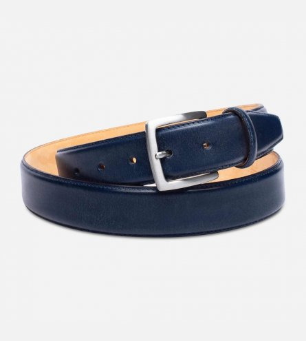 Navy Blue English Leather Belt with Silver Buckle