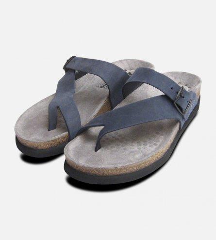 Helen Toe Post Navy Blue Nubuck Ladies Mephisto Sandals
