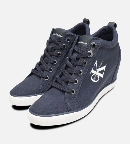 Navy Blue Canvas Ritzy Heel Trainer by Calvin Klein