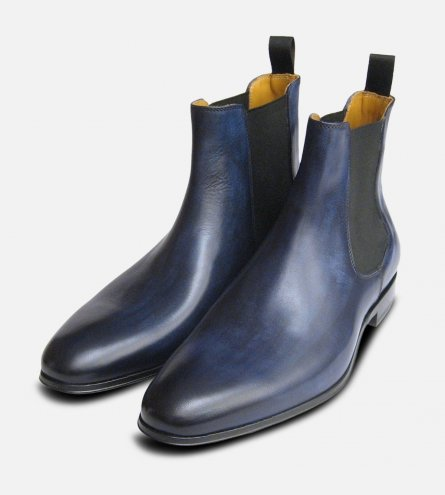 Antiqued Navy Blue Mens Chelsea Boots