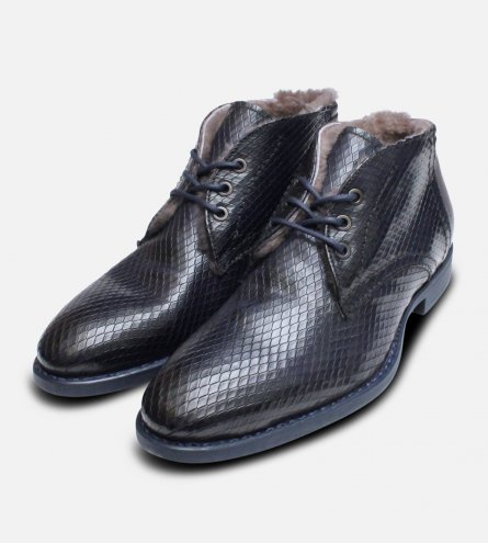 Fur Lined Italian Chukka Boot in Navy Blue Snake