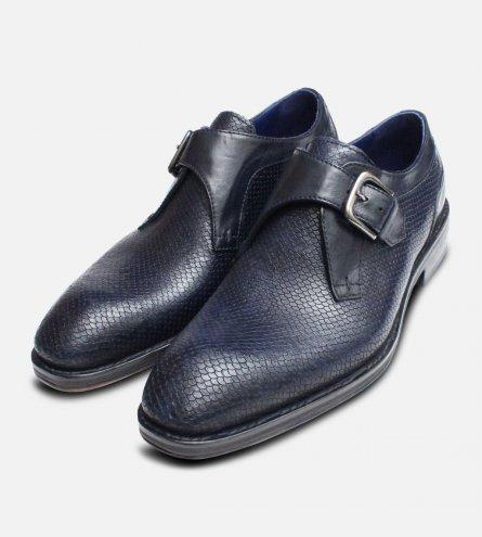 Navy Blue Snakeskin Effect Monk Shoes