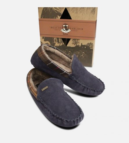 Navy Blue Suede Barbour Slippers Fur Lined & Gift Box