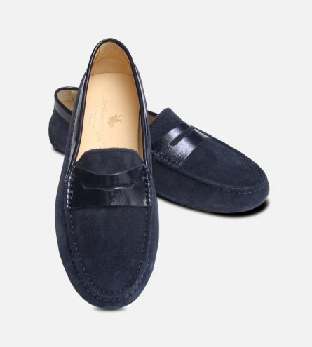 Navy Blue Suede & Patent Arthur Knight Ladies Italian Driving Shoes