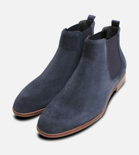 Navy Blue John White Slip on Chelsea Boots