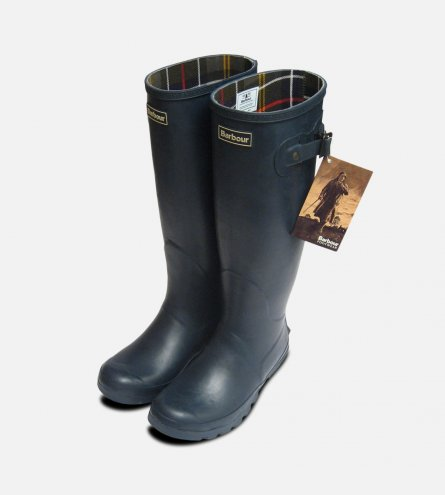 Full Length Ladies Barbour Navy Blue Rubber Wellington Boots