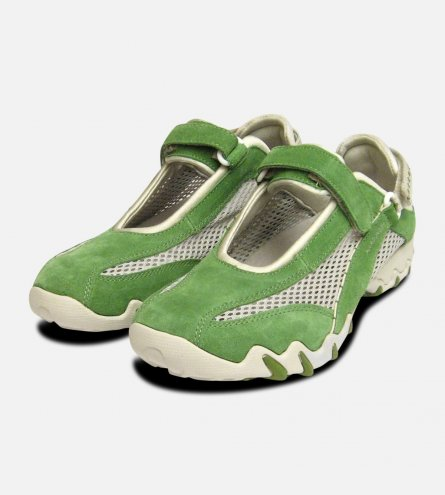 Niro in Kiwi Green Suede by Mephisto Ladies Designer Sneaker Trainers