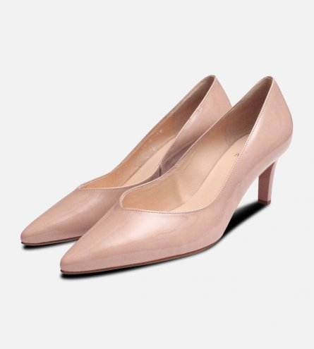 Nude Patent Hogl Pointed Toe Medium Heel Shoes