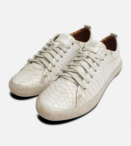 Off White Crocodile Anatomic & Co Leather Trainers